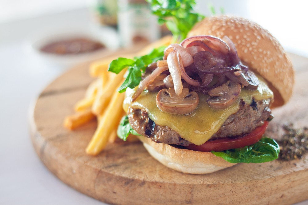 Short Rib Burgers with Caramelized Onions